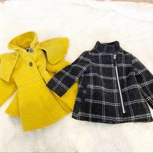 Baby girl 1 yellow and 1 black coat Osh kosh